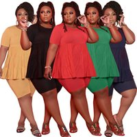 Women plus size Tracksuits 2 piece set summer clothes solid color small plait t-shirt shorts sweatsuit tee top capris sports sets pullover leggings bodysuit 01420