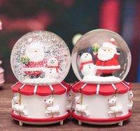 Игрушка Санта-Клаус Кристалл Шарика Рождественские огни Воды вращающиеся Снежная Музыкальная Коробка подарков Детские игрушки