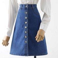 تنورة للنساء الأزرق الدنيم 2021 ربيع قطعة واحدة عالية الخصر ألف خط جينز واحد الصدر