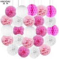 24Pcs/Set Hanging Ball Lanterns Tissue Paper Pom Flower Honeycomb Balls Lantern Wedding Birthday Christmas Party Decor