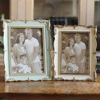Gül reçine Fotoğraf Çerçevesi 6 inç 7 inç Vintage Fotoğraf Çerçevesi Ev Dekor Retro Ahşap Düğün Çift Resimleri Çerçeveleri Hediye Süs BH1667 CY