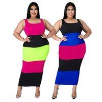 Artı Boyutu Uzun Temel Bandaj Elbise Kadın Yaz Renk Blok Kare Yaka Kolsuz Sıkı Maxi Elbise