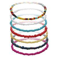 Colorful Seed Bead Elastic Charm Bracelet Summer Beach Simple Friendship Bracelets Handmade Boho Jewelry Gift For Friend