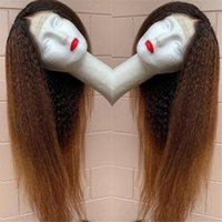 1b 30 Honey Blonde Lace Front Wigs For Women Yaki Human Hair Ombre Kinky Straight PrePlucked Brazilian Closure Wig