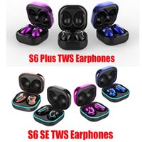 S6 Plus SE TWS 블루투스 무선 이어폰 이어폰 컬러 스크린 미니 버튼 헤드폰 Hifi 사운드 바 이노 럴 호출 이어 피스 9D V5.1 스포츠 헤드셋 LED 디스플레이