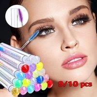 False Eyelashes 9 10pcs Makeup Tools Girls Women Eyelash Extension Brush Wand Smile Mascara Tube Disposable Diamond Crystal