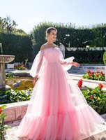 Off shoulder Pink Tulle Evening Dress The Lantern Sleeve Maxi A Line Long Prom Dresses