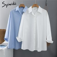 SYIWIDII Frauen Blusen Büro Dame Baumwolle Oversize Plus Size Tops Rosa Weiß Blau Langarm 2021 Spring Korean Fashion Hemden
