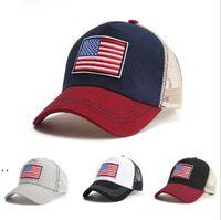 미국 국기 야구 모자 여성과 남성 태양 모자 고전 코튼 그물 공 모자 조정 가능한 야외 스포츠 모자 BWB7391