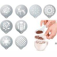 Acero inoxidable Fancy Coffee Decorating Stencils Leche espuma Torta Decoración Molde Barista Cappuccino Impresión Plantilla Spray Stencil HWE7333