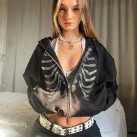 Y2K Rhinestone Mulheres Esqueleto Grunge Goth Hoodie Preto Hippie Zip Up Oversized Hoodies Outono Inverno Escuro Waatfaak Streetwear Q0901
