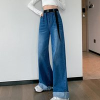 Women's Jeans M-6XL Casual 2021 Autumn And Winter Elastic Waist Wide-leg Trousers Loose Fashionable Clothing