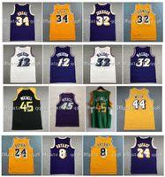 NCAA Baloncesto Allen 3 Iverson Jersey 32 Magic Johnson Karl 32 Malone John 12 Stockton Jerry 44 West Kevin 21 Garnett Patrick 33 Ewing Vintage 100% costuras