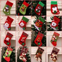 Christmas supplies gift bag decorations pendant giving sack socks ornaments high-end striped large red and green snowman snowflake Xmas stocking small - Oversized