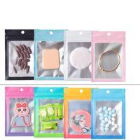 100 шт. Multi Color Reazeableable Mylar Bags Window Алюминиевая фольга Запах пахнуть Хранение Упаковка самопоглощающая сумка