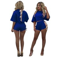 Tuta da donna blu o collo manica corta o 2 pezzi set casual signora moda high street outfit