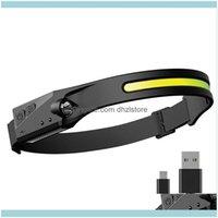 E esportes outdoorsportable diodo emissor de luz USB recarregável cabeça de cabeça leve à prova de intempéries usb-c entrada para camping correndo headla headla