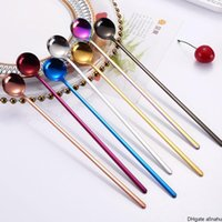 Stainless Steel Coffee Spoons With Long Handle Colorful Kitchen Stirring Ice Cream Dessert Tea Spoons