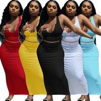 Artı Boyutu 2XL Yaz Giyim Iki Parçalı Kadın Elbiseler Tank Üst + Uzun Etek Bodycon Etekler Katı Renk Kıyafeti Ince Maxi Elbise Seksi Overskirt Loungewear DHL 4804