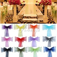 Sashes 50pcs High Quality Organza Chair Sash Bow For Banquet Wedding Party Event Xmas Decoration Sheer Fabric Supply 18cm*275cm