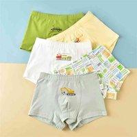 Ropa interior infantil para niños Muchachos Blue Rayas de algodón Pantías de algodón Paquete de la máquina de excavación de la máquina de excavación de la historieta del bebé del bebé 210622