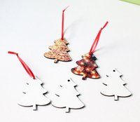 new gifts Sublimation Pendants Thermal Transfer Benelux Christmas Ornaments Decorations MDF Blank Round Square Snow Shape Heat Printing Tree Pendant Decors