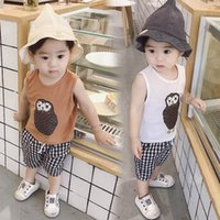 Baby Clothing Sets Boy Suit Boys Outfits Kids Suits Summer Cotton Cartoon Plaid Tops Vest Shorts Pants Casual Wear 1-6Y B5207