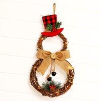 Christmas christmas Household decoration wreath pendant LED light string door hanging rattan