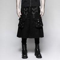Roca gótica serie oscura anillo de metal remache Falda guerrera personalidad guapo club escenario hombres plisado punk rave shorts