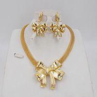 Stijl Ltaal 750 Gouden Kleur Sieraden Set voor Dames Afrikaanse Kralen Jewlery Fashion Ketting Set Oorbel Sieraden