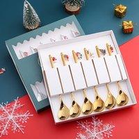 304 из нержавеющей стали десертный набор высокого класса кофе ложка арбуза мороженое чайная ложка Изысканная подвесная рождественская подарочная коробка