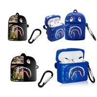 3d cartone animato full body backpack case orsi camuffamento stile bocca di squalo per Apple Airpods 1 2 pro auricolari protettivi copertura