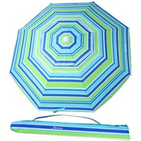 Tents And Shelters MOVTOTOP 6.5 Feet Striped Beach Umbrella UV Protection With Tilt Telescoping Pole Adjustable Sand Anchor