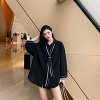 Women's Blouses & Shirts 2021 Spring Vintage Long Sleeve Solid Color With Tie Korean Hong Kong Style Retro Women Button Up Shirt Harajuku Fa