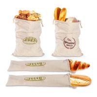 Storage Bags Bread Bag Reusable Baguette Drawstring Pouch Natural Linen Bagel Bun Sack Portable Container Elegant