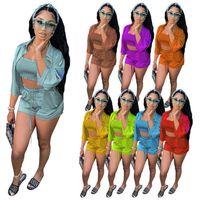 Women Tracksuits 3 Piece Suit Designer Slim Sexy Solid Color High Elastic Satin Wave Edge Multi Needle Shirt Temperament Clothes 8 Colours