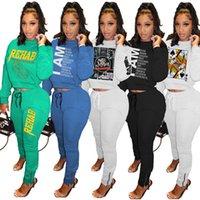 Womens 2 pezzo set abiti manica lunga manica lunga tracksuit jogging sportsuit camicia leggings signore nuova moda felpa pantaloni sportivi tuta