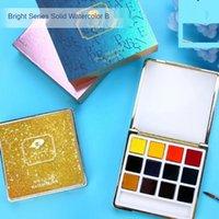 Gift Sets Solid Watercolor Bright Series 12  24 Colors Mini Portable Box Paint Set Art Supplies For Artist CN(Origin)