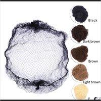 20 unids Muestra Pedido Cinco colores Nylon Hairnetts Negro Marrón Café Color Invisible Líneas Elásticas Suave Peluquería JZDET WIG CAPS 3IOWF