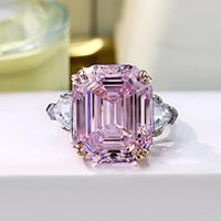 Cluster Rings 2021 Trend 925 Sterling Silver For Girlfriend 13*16mm Big Gemstone Topaz Pink Quartz Lab Diamond Engagement Ring Jewelry