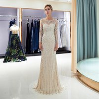 Party Dresses 2021 Luxury Evening Sheer Crystal Beaded Long Sleeves Women Trumpet Champagne Gown
