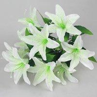 테이블 인공 꽃 백합 10 머리 꽃 가짜 거짓 무리 백합 파티 홈 장식 웨딩 장식 Decore 장식 화환