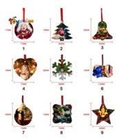 NEW 2021 Sublimation Blank Christmas Ornament Double-Sided Xmas Tree Pendant Multi Shape Aluminum Plate Metal Hanging Tag Holidays Decoration Craft