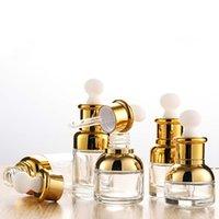 Altın Gümüş Cam Damlalık Boş Şişe 20ml 30ml 50ml Esansiyel Yağ HWF6046 için Altın Kap ile