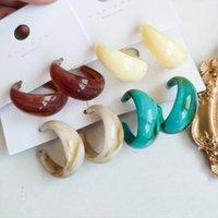 Big Geometric Acrylic Dangle Hoop Earrings Women Trendy Ethnic Vintage C Shaped Earring Party Fashion Jewelry Accessories
