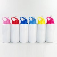 600ml Aluminum Water Bottles Sublimation Blanks Bottle Big Mouth Suction Nozzle Kettle White Color Sports Cup sea shipping DWB7910