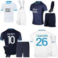 2021 Olympique de Marseille Soccer Jersey 20 21 OM Payet L.Gustavo Thauvin Benedetto الكبار + أطفال الجوارب كيت قمصان كرة القدم