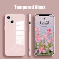 YYDS Luxury Square Tempered Glass Phone Case For iPhone 13 11 12 Pro Max Mini XS XR X 7 8 Plus SE Silicone Hard Back Cover