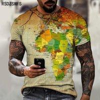 Men's T-Shirts Street Map Pattern T-shirt Retro Trend Fashion Clothing Versatile Top European Design Tees Size XXS-5XL