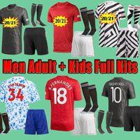 Manchester  United  Homem 2020 2021 Utd Futebol Jersey Preção de Treinamento Terno Manchester Van de Beek Cavani Fernandes Maguire Diallo Futebol Camisas 20 21 Homem Kit
